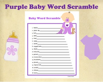 Printable~Purple Baby Shower Word Scramble Game~Purple Baby Shower Activity~Baby Shower Printable Game~Baby Shower Instant Download~Purple