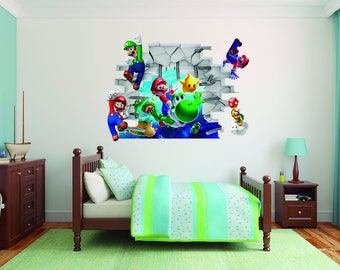 Super Mario Bros 3D Effect   Brake Wall Effect 3D   Wall Decal For Room Boys