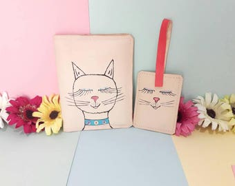 Cat Travel set / travelset / Cats / passport holder / luggage tag / travel wallet