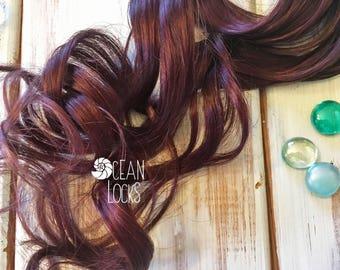 Burgundy extensions etsy dark burgundy hair extensions hair extensions clip in solid color mermaid hair pmusecretfo Choice Image