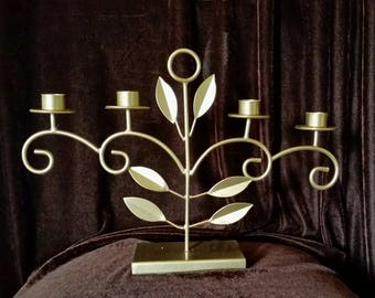 Gold Candelabra, Taper Candle Holder, Candle Centerpiece