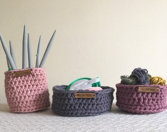 Set of Three Crochet Baskets // Storage Solutions // Home Accessories