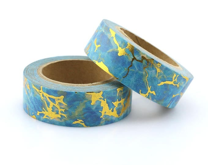 Gold Foil Blue Marbled Washi Tape - Foil washi Tape -  Marbled Washi Tape - Paper Tape - Planner Washi Tape - Washi - Decorative Tape