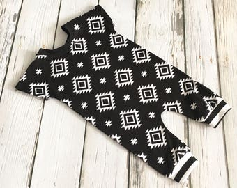 RTS Newborn Romper, One Piece Romper, Jumpsuit, Baby Outfit, Toddler Romper, Going Home Outfit, Tribal Black and White