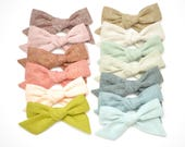 Linen Baby Headband - LARGE Evy bows in 13 colors- Large Hand-Tied Hair Bow-Cotton Schoolgirl Bow-Hairbow-Nylon Headband - Toddler Hair Clip