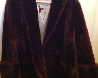 Mouton Lamb Coat Vintage Brown Lined Jacket Fur