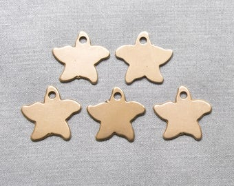 5 stars 15 mm bronze metal charms