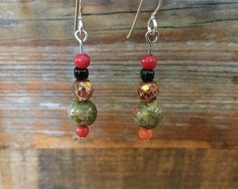 Unakite Dangle Earrings