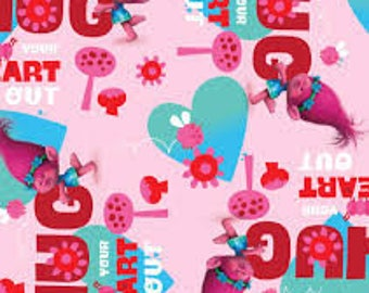 """Trolls hug your heart out fabric, By the Half Yard, 44"""" wide, 100% cotton"""