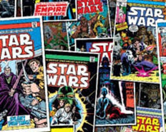 "Star Wars Comic covers fabric, By the Half Yard, 44"" wide, 100% cotton, star wars fabric, empire strikes back, movie fabric, cotton fabric"
