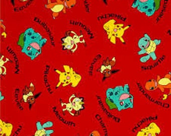 "Pokemon Characters on Red by Robert Kaufman, By the Half Yard, 44"" wide, 100% cotton, pokemon fabric, pikachu fabric, cartoon fabric"