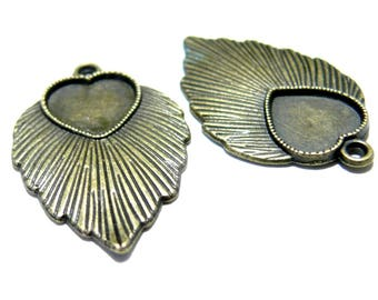 Primer jewelry 10 pendants 2D1437feuille heart art deco Bronze