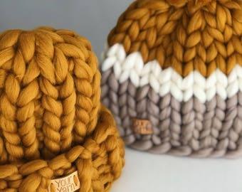 Women's wool knit hat, Super chunky hat. Extra warm 100% merino wool. Helsinki hat, winter hat