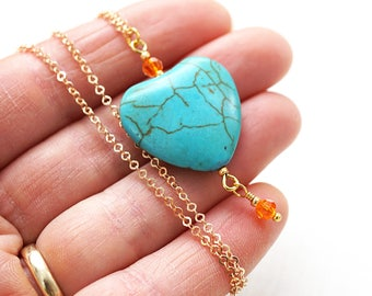 Handmade Colorful Boho Jewelry Heart Necklace Gold Chain Large Turquoise Heart Orange Crystal Howlite Necklace Bridesmaid Gift Wire Wrapped