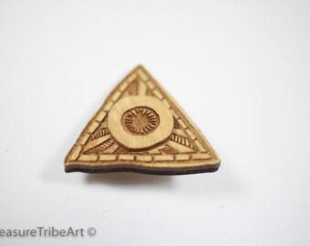 Kraken/Eye Hat Pin - Maple Wood Item #1054