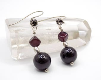 Red passion, 925 sterling silver, Garnet natural stone jewelry elegant earrings, gift