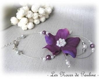 White violet wedding flower 'Tradition' Eva bracelet