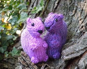 Hand Knit Purple Squirrel - Plush Wool Yarn Woodland Squirrels - Forest Animal Holiday Housewarming Birthday or Kids Stuffed Knitting Gift