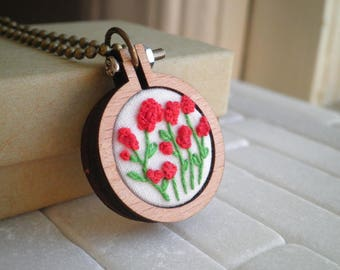 Floral Embroidery Necklace - Red Poppy Flower Garden Embroidered Necklace - Petite Red Wildflowers Textile Fabric Art Jewelry Gift For Her
