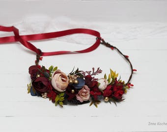 Burgundy beige gold flower crown Bridal hair wreath Woodland Wedding headpiece Flower girl Bridesmaid Maternity photo props Floral crown