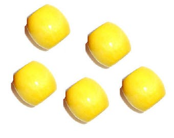set of 5 large drum yellow 17 mm x 16 mm wooden beads