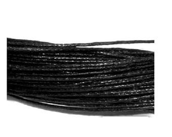 5 Metters black 1 mm waxed cotton cord