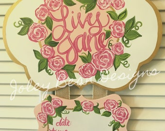 Floral & Gold Hospital Door Hanger