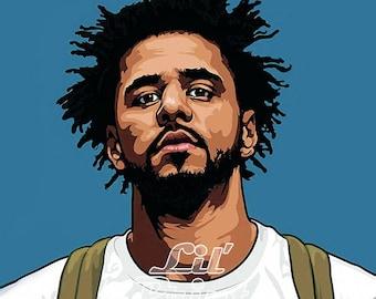 J Cole - original canvas on pine frame, artwork, artprint *watermark Lil'Print will be removed