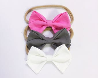 Pretty in pink trio bow headband baby girl set newborn kids hairbow accessories