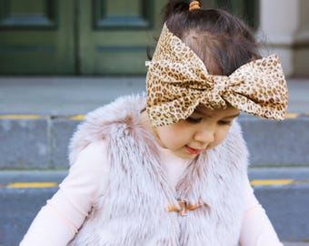 Oversized bow headband baby toddler headwrap girls cotton animal print newborn kids hairbow accessories