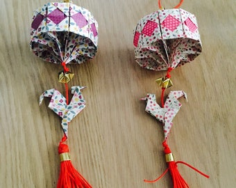 """Two lanterns origami suspended for Chinese new year """"year of the rooster"""""""