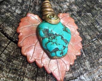 OOAK Turquoise Magnesite Musadine Leaf