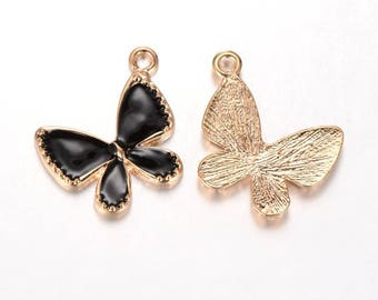 "2 pendants ""Butterfly"" gold with enamel Black 2.3 cm"