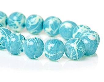 50 8mm turquoise colored glass beads