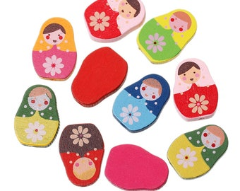 10 pearls Russian doll shaped wooden 22mm / mixed beads
