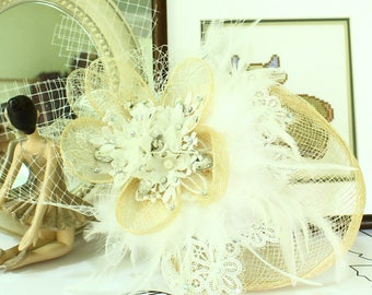 New creation of Hat flower wood weave and White Net Fascinator feather wedding headpiece, Miss popular