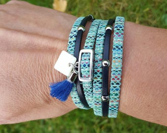 2 leather towers Navy and teal Strip cuff