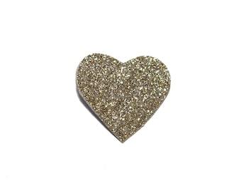 Gold glitter heart brooch