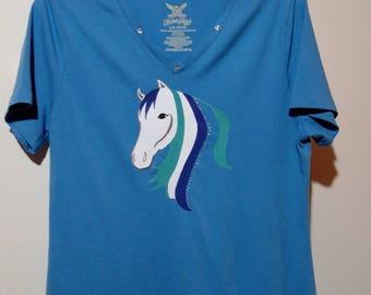 Blue/Turquoise Horse T shirt