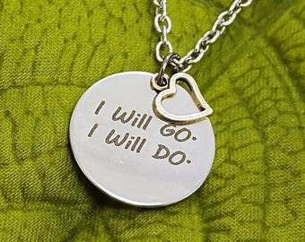 LDS Primary Jewelry, Gift for Primary Children, Nephi's Courage Song I Will Go I Will Do Primary Charm Necklace, Gift for LDS Girls Leaders