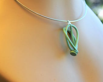 Mint green vintage knitting needle pendant on wire chocker or chain gift for knitters, handmade upcycled jewellery, sustainable fashion