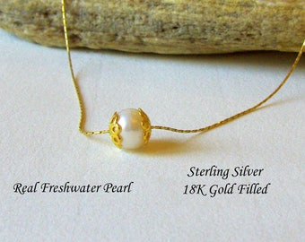 Single Pearl Necklace free floating, Sterling Silver or Gold Filled Snake Chain Necklace, Bridesmaid Necklace, Wedding Pearl Necklace