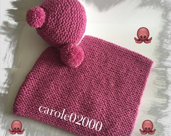 Baby winter set (3 months) hot pink color, soft and warm wool Poncho and Bonnet in chunky wool