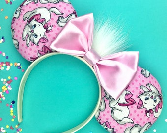 Disney inspired The Aristocats Kitten Marie Minnie Mickey Mouse ears