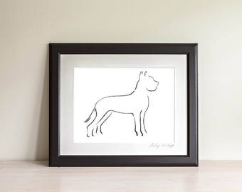 Framed Great Dane Art Print, Great Dane Line Drawing, Dog Lover Gift, Minimalist Line Art Print, Modern Line Drawing, 5 x 7, 8 x 10
