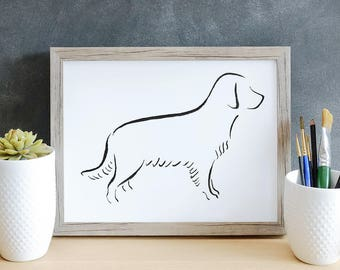 Golden Retriever, Minimalist Dog Art Print,  Pet Loss Gift Ideas, New Dog Owner Gift, Dog Mom Gift, Dog Owner Decor, New Puppy Gift