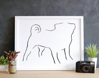 Pug, Minimalist Dog Art Print,  Pet Loss Gift Ideas, New Dog Owner Gift, Dog Mom Gift, Dog Owner Decor, New Puppy Gift, Best Dog Gifts