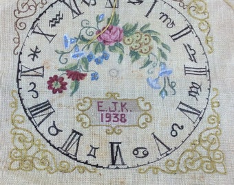 Antique needlepoint canvas clock face partially finished 1938