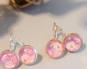 Pink earings,silver dangly earrings, sparkly purple, faux druzy, nickel free,rose gold or silver, sparkly glitter, faux druzy,druzy earings,