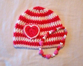 Candy Stripe Valentine's Hat and Necklace Set / 3-6 months / Gift Idea / Pink & White / Photo Prop / Baby Shower / Girl / Hearts